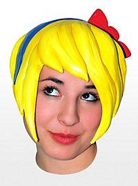 Indie Girl gelb Perücke aus Latex
