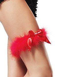 Jarretière fourrure rouge à nœud rouge