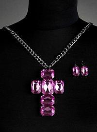 "Jewellery Set ""Cross"" purple"