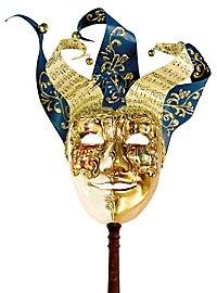 Jolly Carte Maschile oro bianco con bastone - Venetian Mask
