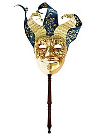 Jolly Carte Maschile oro bianco con bastone - Venezianische Maske