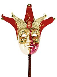 Jolly Carte Maschile rosso bianco con bastone - Venezianische Maske