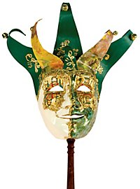Jolly Carte Maschile verde bianco con bastone - Venetian Mask
