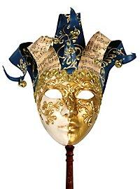 Jolly Colla oro bianco con bastone - Venezianische Maske