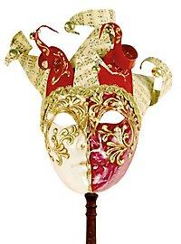 Jolly Colla rosso bianco con bastone - Venezianische Maske