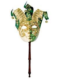 Jolly Colla verde bianco con bastone - Venezianische Maske