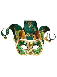 Jolly Colombina Monica verde bianco - Venezianische Maske