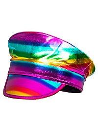 Kapitänsmütze Regenbogen metallic