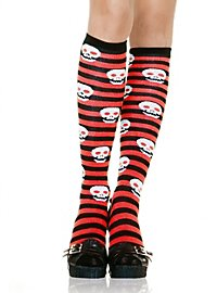 Knee highs black-red curled with skulls