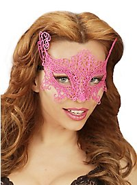 Lace mask neon-pink