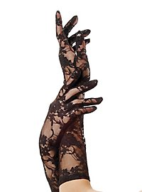 Lace Mesh Elbow Gloves black