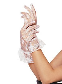 Lace Mesh Gloves with Wristband white