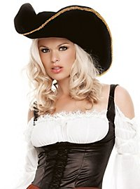 Ladies Pirate Hat with Gold Trim