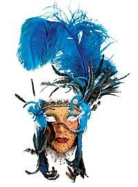 Lady Fiore con piume blu-bigia Venezianische Maske