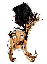 Lady Fiore con piume nera-miele Venetian Mask