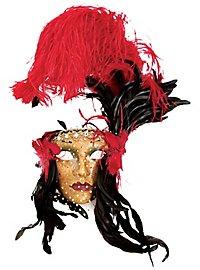 Lady Fiore con piume rossa-nera Venezianische Maske