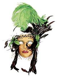 Lady Fiore con piume verde-nera Venezianische Maske
