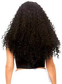 Lange Curly Lockenperücke schwarz-weiß