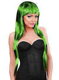 Lange Haare Perücke gestreift grün-schwarz