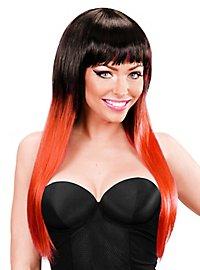 Lange Haare Perücke gestreift schwarz-rot
