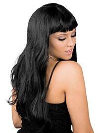 Lange Haare schwarz Perücke