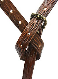 Leather Belt Flames brown