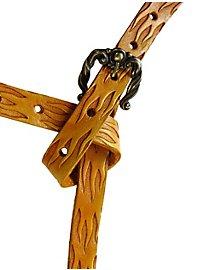 Leather Belt Flames oak