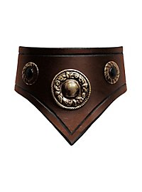 Leather Collar brown & gold