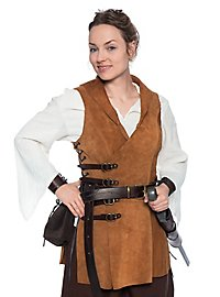 Leather jerkin with buckles - Huntress