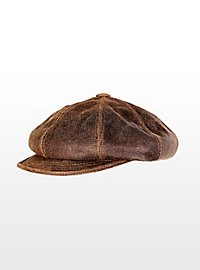 Leather Newsboy Cap brown