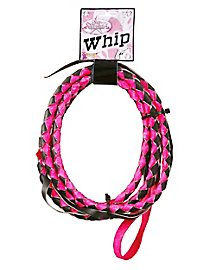 Leather whip black-pink