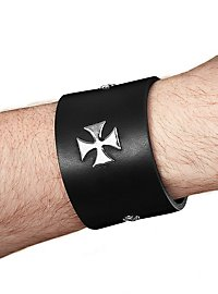 Leather Wristband with Crosses