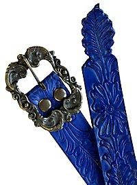Ledergürtel Blumenornament blau