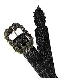 Gürtel - Blumenornament schwarz