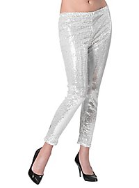 Leggings Pailletten silber