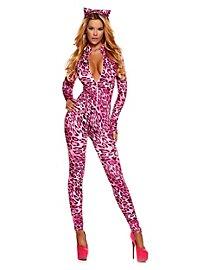 Leoparden Catsuit pink mit Haarreif