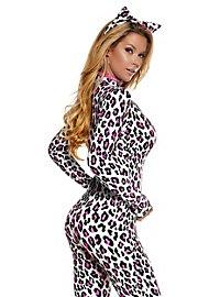 Leoparden Catsuit weiß-pink mit Haarreif