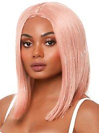 Long Bob Perücke silber-pink