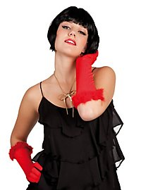 Long Gloves with Marabou red