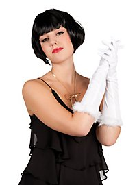Long Gloves with Marabou white