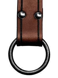 Long Leather Belt with Ring brown