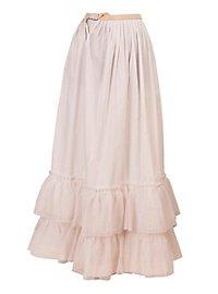 Long Skirt with Net Hem white