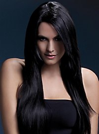 Long straight cut wig black, side parting