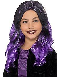 Longhair wig for children black-purple