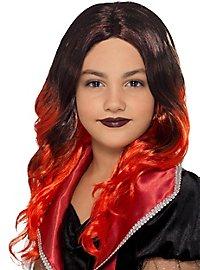 Longhair wig for children black-red
