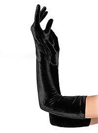Longs gants en satin noirs
