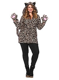 Lovely Leopard Plus Size Hoodie Dress