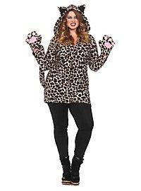 Lovely Leopard Plus Size Hoodie Dress