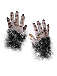 Mains de monstre poilues gris en latex