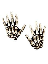 Mains de squelette pour enfant couleur os en latex